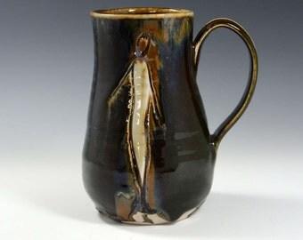 16 oz Coffee Mug, Handmade Stoneware Pottery Mug Olive Green brown Ceramic Mug Cup