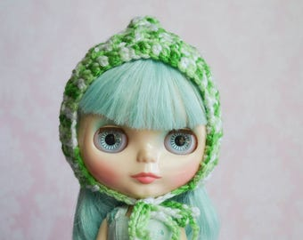 Handmade Crocheted Pixie Hat for Blythe - Acrylic Yarn - Green Mix