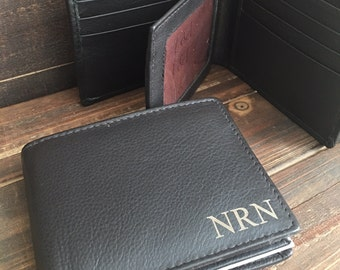 Mens Personalized, Mens Gift Mens Wallet  Mens Leather Wallet Personalized Monogrammed Engraved Leather Bifold Mens Wallet Father's Day Gift