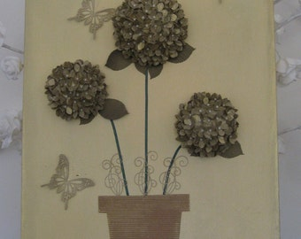 Hand Crafted Hydrangea and Butterflies Mixed Media Box Canvas 600mm High x 400mm Wide
