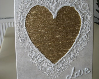 Hand Crafted Gold Glitter Lacy Heart 290mm high x 230mm wide  x 9mm Mdf *Free P&P*