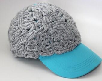 Brain Hat - Blue Gray Matter Baseball Cap