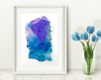 Original abstract painting blue purple grey ink painting