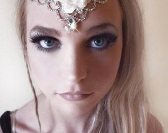 Crystal tiara, ivory flower tiara, crystal hair piece, bridal jewelry, boho hair piece, teardrop tiara, bohemian princess, bridal hair, OOAK