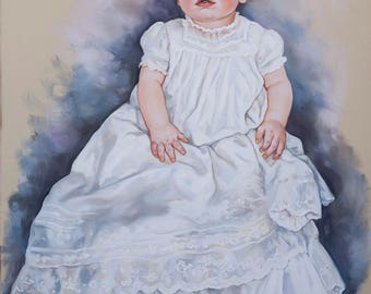 Big Size Pastel Portrait Painting of a baby boy, 29x 43 inches
