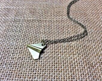 Origami Paper Plane Necklace (medium): airplane charm