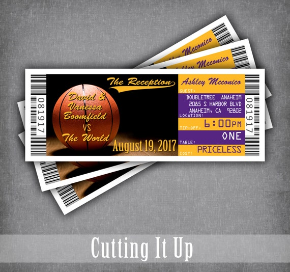 basketball wedding ticket place cards seating cards escort
