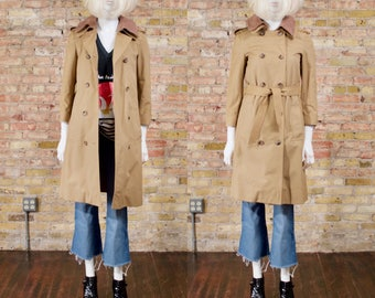 70s trench coat / spring trench coat / classic trench / rain coat / retro trench coat / fitted trench / khaki trench coat