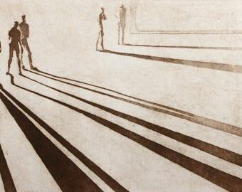 "Haunting Figure Intaglio Print,  ""Paths No. 10A"""