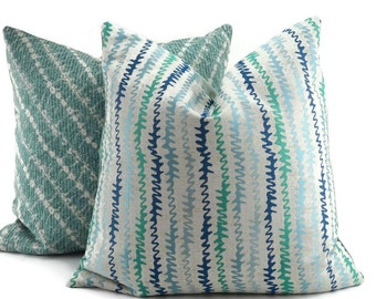 Navy, Gray, & Turquoise Chevron Throw  Pillow Cover, 20x20, Zig Zag Pillow Cover