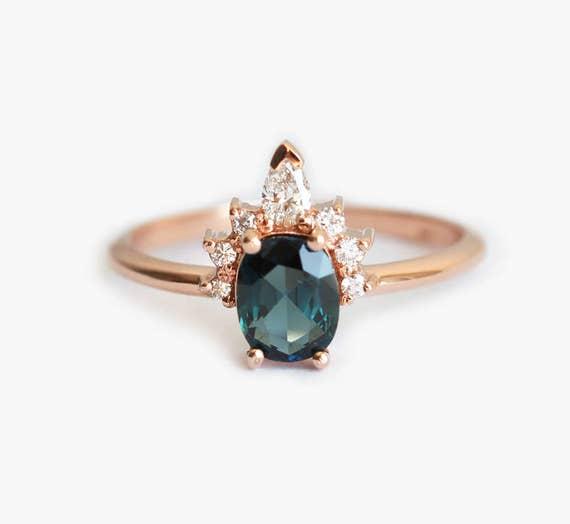 Teal Blue Sapphire Ring Sapphire Diamond Ring Diamond