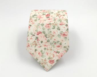 Blush Necktie, Ivory and Blush Pink Floral Necktie, Blush Wedding Ties, Pink Necktie, Grooms Necktie