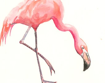 "Pink Flamingo Art, original one of  a kind flamingo watercolor ART 10"" x 8"", flamingo lover bird art, birds bird painting flamingo wall art"