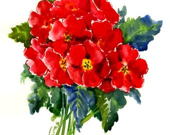 Red Primulas, Floral PAinting, original watercolor painting, 12 X 9 in, red bright floral art,