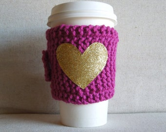 Pink Coffee Cozy with Gold Glitter Heart, Mug Sweater, Coffee Cozy, Coffee Sleeve, Mug Cozy