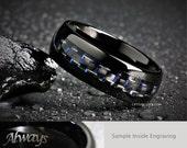 8MM Mens Black Tungsten, Blue Black Carbon Fiber Wedding, Engagement, Promise Ring, Custom Laser Engraved Inside