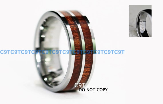 8MM TUNGSTEN Carbide Wedding Band High Polish With Inlaid Red