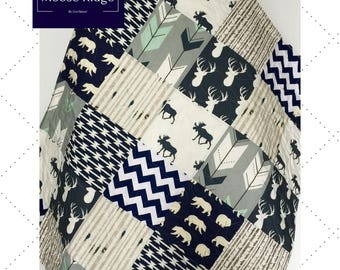 Baby Quilt Boy, Navy Gray Crib Bedding, Woodland Nursery Boy, Deer Baby Bedding, Navy Gray Nursery, Chevron Baby Quilt, Moose Ridge