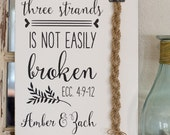 A cord of three strands is not easily broken. Ecc 4:9-12 Wedding Unity Ceremony, Unity Candle Alternative