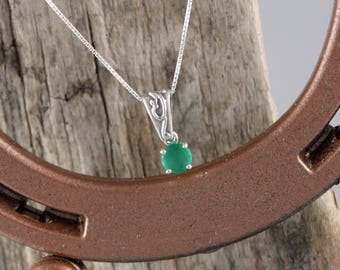 Sterling Silver Pendant/Necklace  - Green Onyx Pendant/Necklace - Sterling Silver Setting with a 6mm Green Onyx Stone