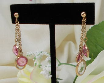 Vintage Pink and Clear Crystal Chain Drop Earrings   3442