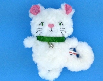 PROMO plush kitten minky rosette white, pink ears with green collar with Bell