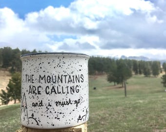 FREE SHIPPING - Mountains Calling mug // camping mug // the mountains are calling and i must go