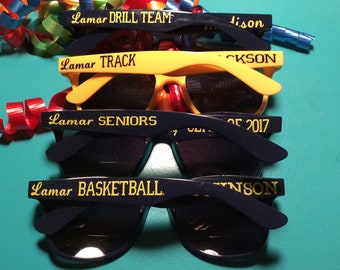 Cheer, Band, Football, Baseball, Drill Team, Choir. Any activity can be customized on the arms of the sunglass. Popular style and colors.