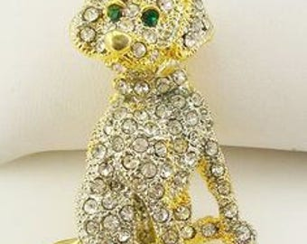 Kenneth Jay Lane Dog Pin Brooch - Gold Tone with Crystals - S2070