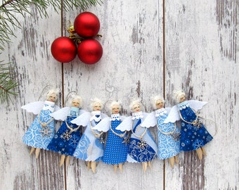 Christmas Angels, Blue Christmas Ornaments, Rustic Tree Decorations