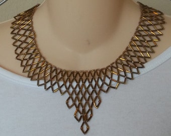 Beautiful burnished gold bib necklace with bugles and seeds