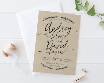 Printable Wedding Invitation Set, Woodland Wedding Suite, Handwritten  Rustic Wedding Invites, DIY Branch