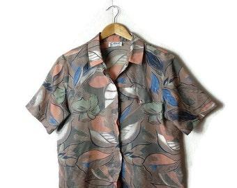 Vintage Oversized Botanical printed short sleeve blouse from 1980's/Hawaiian*