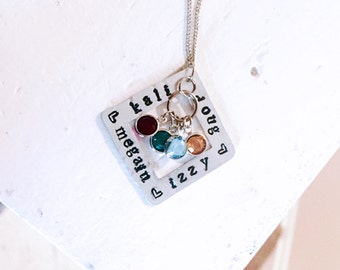 Hand Stamped Necklace | Mother or Grandma Necklace | Names Square Pendant | Swarovski Birthstones