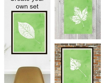 Watercolor Leaf Botanical Wall Art Print Set - botanical art print - green watercolor home decor - 8x10 print set - printable wall art set