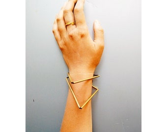 Brass triangle bracelet, geometric brass bracelet, triangle bracelet, brass bracelet, brass necklace, brass choker, mother's day gift