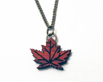 Maple leaf necklace, leaf necklace, maple leaf pendant, canada 150 gifts, canadiana, canadian gifts, mother's day gift, laser cut maple leaf
