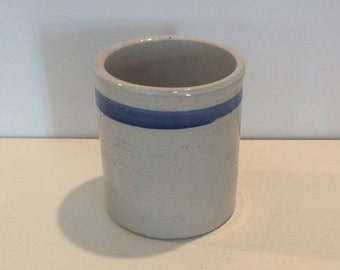 Ceramic Utensil Crock with Blue Stripe