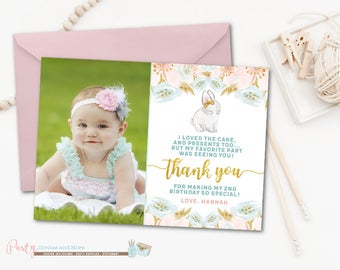 Bunny Thank You Card, Easter Thank You Card, Bunny Birthday Thank You Card, Bunnies Thank You Card, Bunnies, Pink and Gold Thank You Card