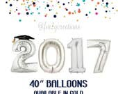 "Silver GRADUATION 2017 Balloons | 40"" GRADUATION BALLOONS 