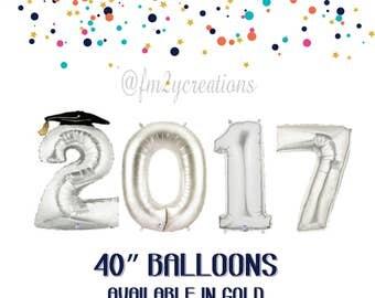 "Silver GRADUATION 2017 Balloons   40"" GRADUATION BALLOONS   Graduation Party Decor   Class of 2017   Graduation Photos   2017 Balloon Banner"