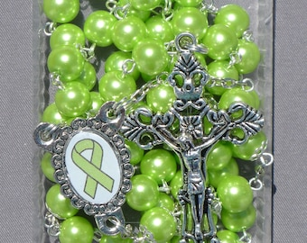 Lymphoma Cancer Awareness - 8mm Lime Green Glass Rosary