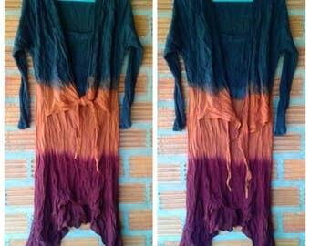 Boho Tie Dye dress/Wrap Dress/Festival colorful dress/Long sleeve dress/Hippie dress/Summer Dress/2 colors