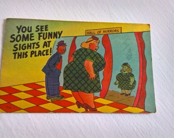 Vintage Funhouse Mirror Postcard --- Retro American Souvenir Mail --- 1940's Cartoon Carnival Humor Fun Colorful Kitschy Style Home Decor