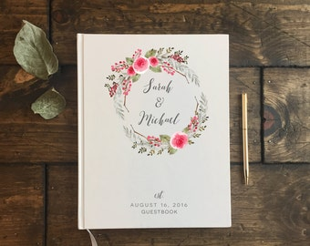Wedding Guest Book. Guestbook Wedding. Floral Rustic Wedding Journal. Wedding Notebook. Custom Wedding Guest book