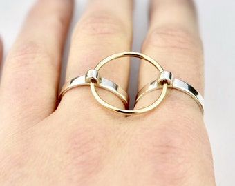 Fidget Jewelry Kinetic Spinning Doublet Ring | 14k Fill and Silver | Nervous Habit Jewelry