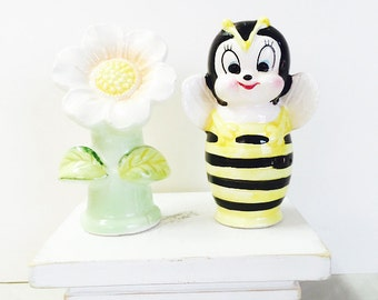 Vintage Ceramic Anthropomorphic Bee and Flower Salt and Pepper Shakers