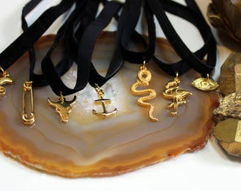 gold plated charms chokers