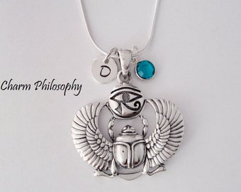 Scarab Beetle Necklace - Egyptian Eye of Horus Charm - Personalized Initial and Birthstone Bead - 925 Sterling Silver Jewelry