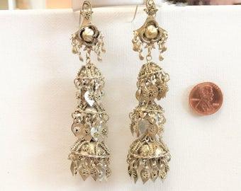 Unusual Antique 4 Inch Dangle Earrings